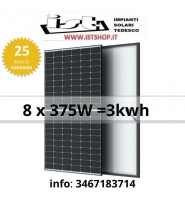 Pannelli fotovoltaici 3kw con pannelli da 375W per impianto di ultima generazione