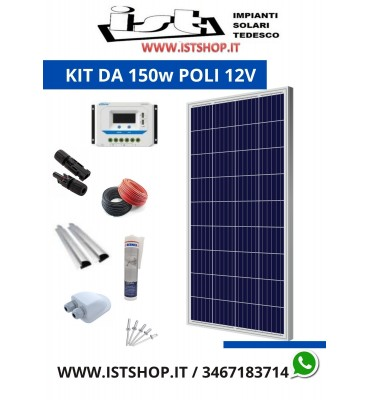 Pannello Solare 150W in Silicio Policristallino kit completo