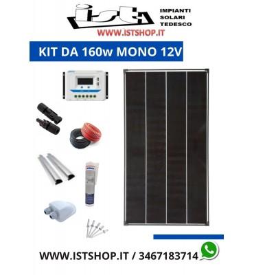 Pannello Solare 160W  Monocristallino kit completo per camper