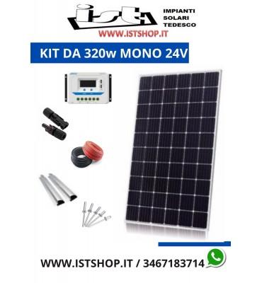 Pannello Solare 320w Monocristallino Kit completo 24v