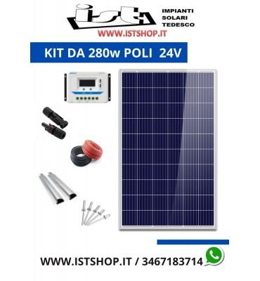 Pannello Fotovoltaico 280Wp Policristallino kit completo per tensioni di 24v