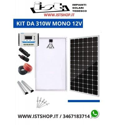Pannello Solare 310W Monocristallino 21Ah 12v kit completo
