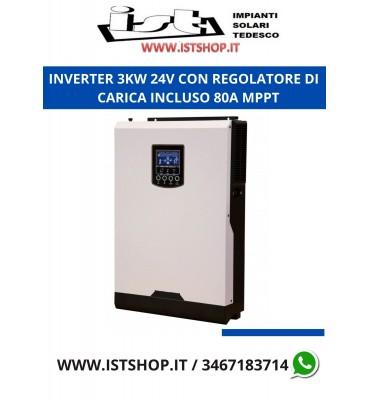 Inverter Ibrido da 3KW 24V onda pura con regolatore di carica incluso da 80A MPPT (anche senza batterie)
