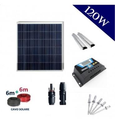 Pannello Fotovoltaico da 120Wp policristallino kit completo